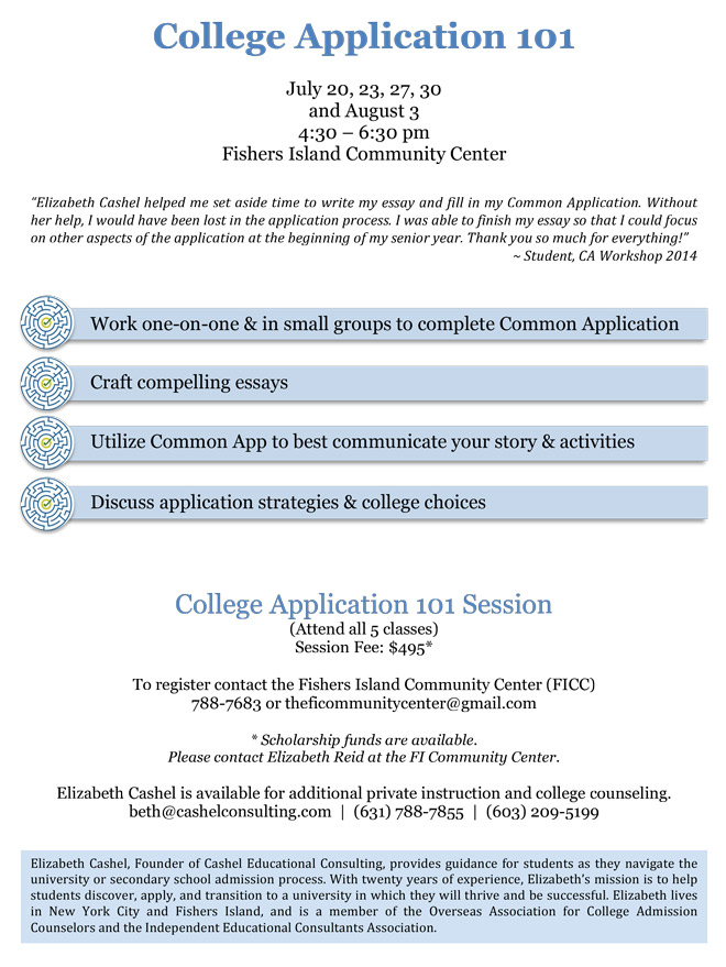 College Application  Workshop  FishersislandNet