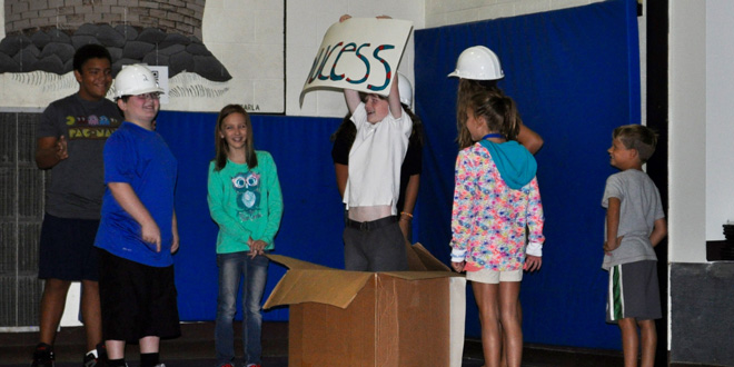 Opening day skit by some FIS students creatively demonstrating problem solving and team work. JTAhrens Photo