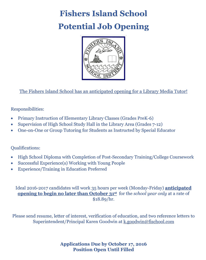 FI School Potential Job Opening: Library Media Tutor – FishersIsland.net