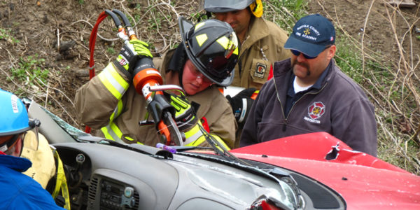 Fire Department Drill on Vehicle Extrication