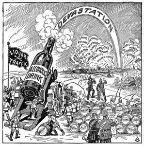 """Illustration from The Shadow of the Bottle –Published in the Interest of Nation-Wide Prohibition of the Liquor TrafficPublished by Review and Herald Publishing Assn.c.1917Museum Collection. Museum AcquisitionThose fighting for prohibition frequently portrayed the struggle with the """"wet"""" enemy in military terms with stark life-altering consequences awaiting those who lost the battle of the bottle."""
